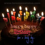Few candles which shaped in happy birthday letterare burning